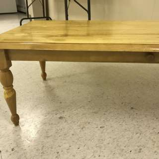Varnished pine coffee table and end tables