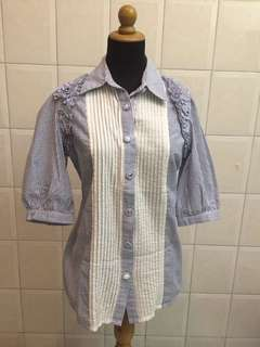 N.y.L.a Blue white stripe blouse