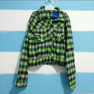 Crop flanel shirt