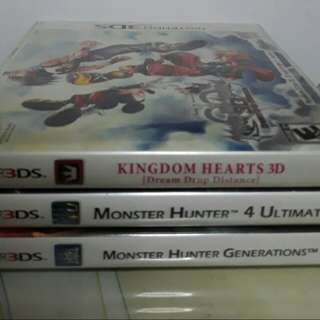 3DS Cartridge MH4,MHG, Kingdom hearts PM me for individual price 2800 for bundle slightly nego.