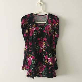 BN (WOT) Floral Puffy Long Sleeves Cotton Top