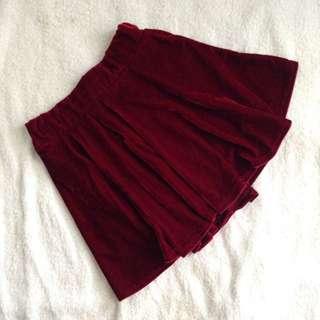 Wine Velvet Skirt