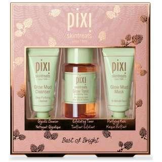 PIXI BEST OF BRIGHT KIT SET - Glow Mud Cleanser 15ml. Glow Tonic 40ml. Glow Mud Mask 15ml