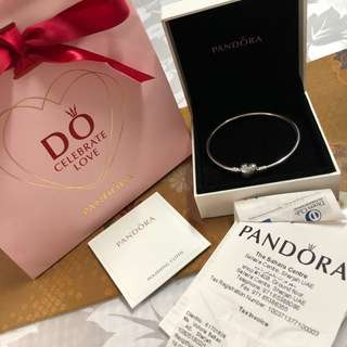 Pandora Silver Bracelet, heart Clasp