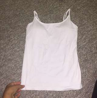 White singlet top - (bra pads included in the singlet) M-L