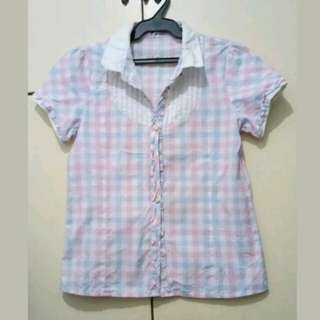 WA451 Light Pink & Blue Checkered Polo Blouse - Small