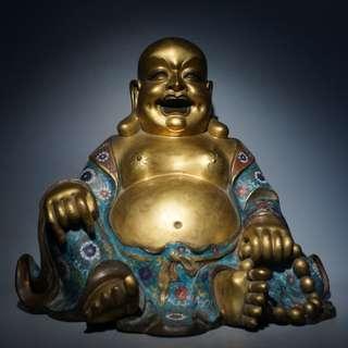 🚚 - 銅鎏金掐絲琺瑯彌勒佛像42.8cm30.4cm41cm