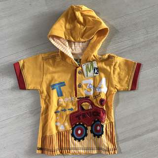 Yellow Truck Top with Hoodie Baju Anak