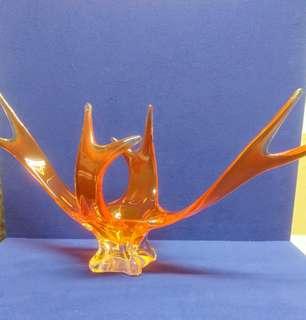 Vintage free form center piece / vase -60's. Orange/red