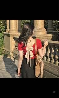 [P.O] Back Ribbon Blouse