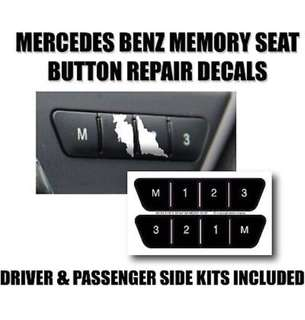 Mercedes Benz Seat Memory Switch Button Decals