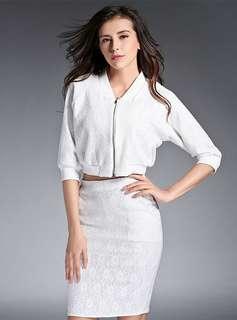 AO/HHC070502 - Elegant Fashion Lace Jacquard Floral Zipper Open Slim Dress Set