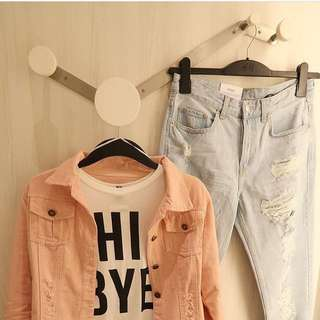 Jaket ripped pink jeans