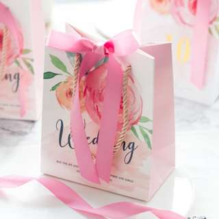 PO Sweet Pink Ribbon Wedding Gift Favor Bag