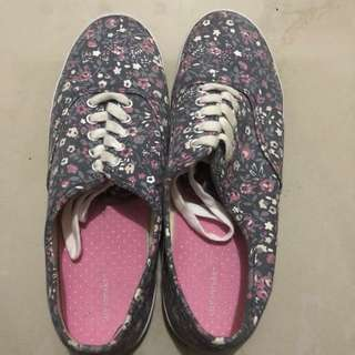 Gray & Pink Floral Sneakers