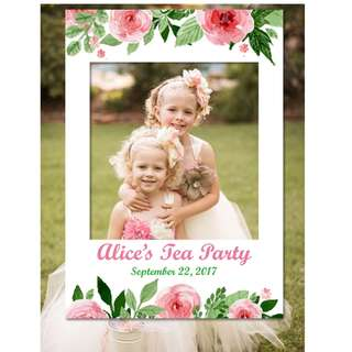 CUSTOM Watercolor Floral Photo Booth Frame Prop