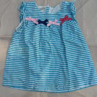 Dress anak biru putih garis garis stripes