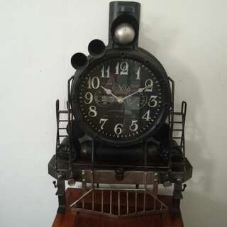 New Classic Train Metal Wall Clock Jam Dinding Keretapi
