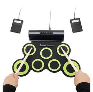 Portable / Flexible Digital Electronic .MIDI Electric Roll Up Drum Set/ Foldable Silicon Table Hand Roll Drum Music Instruments, Battery/ USB Powered, with Built-in Metronome & Speaker 2 Colour For Choose