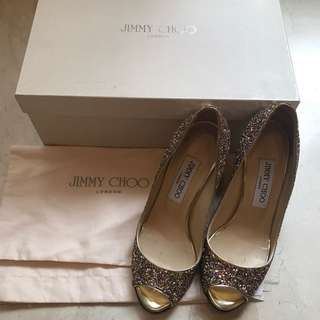 Jimmy Choo Wedges Glitter (good Condition) Authentic