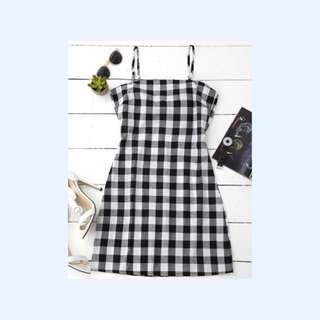 PO: gingham/plaid slip dress