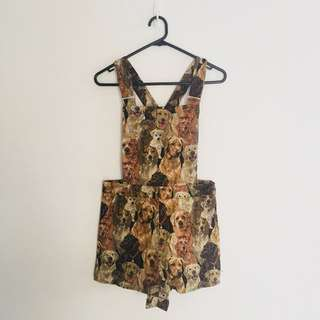 Dog Print Overalls Size 8 Cute 90s Vintage Tapestry Feel NWT