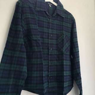 dark blue & green flannel