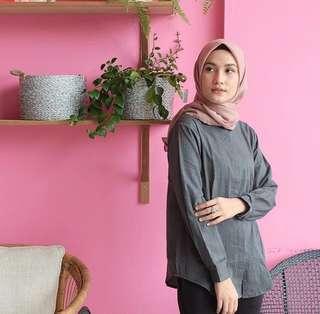 Vanilla Hijab Comfy Blouse - Semiblack