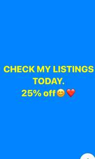 25% Off on my Listings