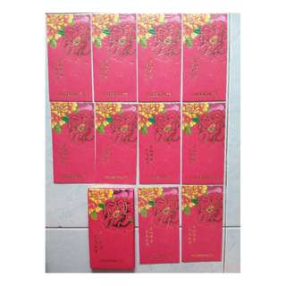 2018 Prudential Peony Flower CNY Ang Bao Red packets 10 pieces with 1 envelope