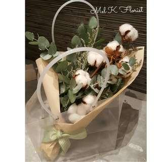 Cotton flower with fresh Eucalyptus