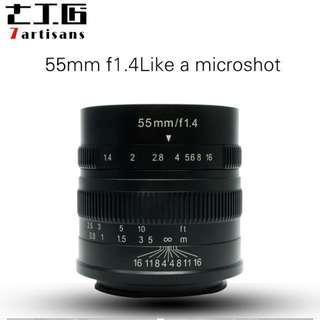 7artisans 55mm f1.4 (apsc) fxmount,emount only