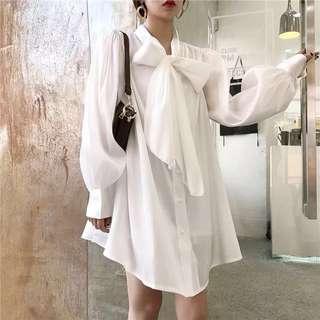 復古寬松泡泡袖系帶蝴蝶襯衫裙+吊帶裙套裝