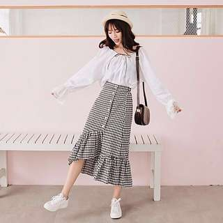 High waist retro grid A-line skirt
