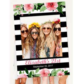 CUSTOM Stripes Floral Photo Booth Frame Prop
