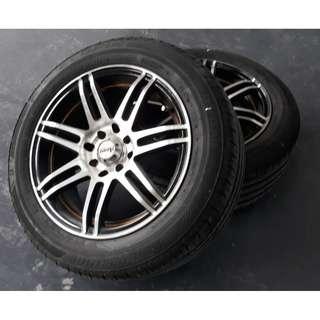"15"" Sport Rims (100 & 114.3) Bridgestone Tyres 195/55R15 (70-80% Thread)"