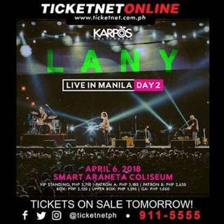 LANY in Manila(Day 2) VIP tickets