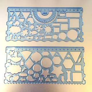[BN] Set Of 2 Stencil Rulers (Shapes Stencil Ruler)