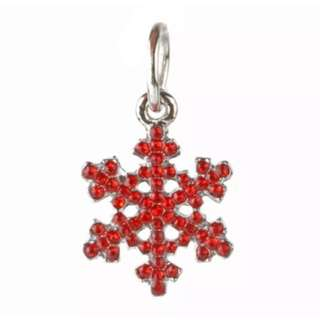 Red Crystal Snowflake Charm