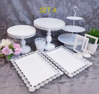 Dessert table set, cake stand, cupcake stand & dessert tray for Rent