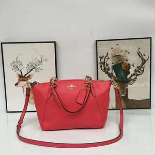 Coach Small Kelsey Satchel- Red Pink / Watermelon Red