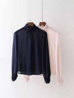 European and American style stand-up bubble chiffon petal sleeve beaded turtleneck shirt