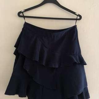 H&M Navy Blue Ruffle Skirt