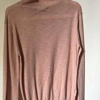 Mango Basics Womens Sweater Size XL turtle neck - Peach