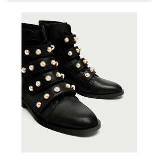 Zara pearls ankle boot