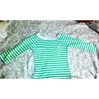 Preloved Green Stripe mid Sweatshirt