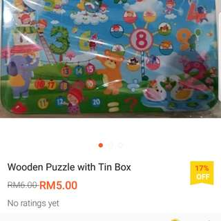 60pcs wooden puzzle with tin box