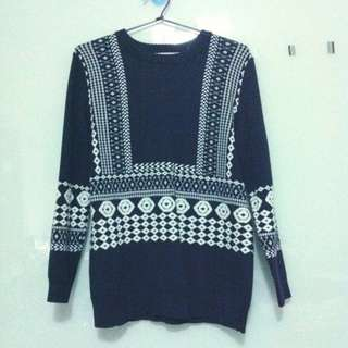 Navy Blue Knit Sweater with White Pattern