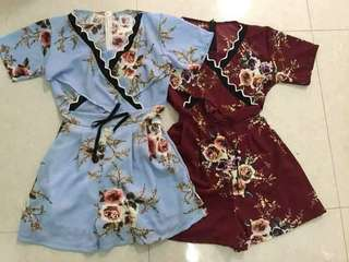 Women Short Sleeve Print Floral Rompers Jumpsuit