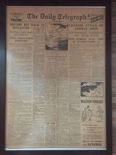 World War 2 Newspaper dated 13 Feb 1942 reporting Battle of Singapore